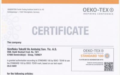 OEKO-TEX  Standard 100 belgemiz yenilendi.