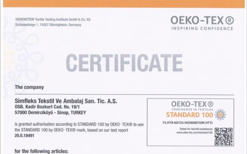 Our OEKO-TEX® Standard 100 certificate has been renewed.